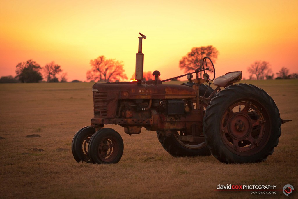 Antique International Harvester Tractor at Sunset in Normangee, Texas by David Cox Photography - http://davidcox.org